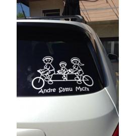 Esempio realizzazione Adesivo Famiglia in bici 3 persone