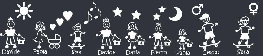 Adesivi Famiglia Simboli: aggiungi il simbolo che vuoi al tuo adesivo.